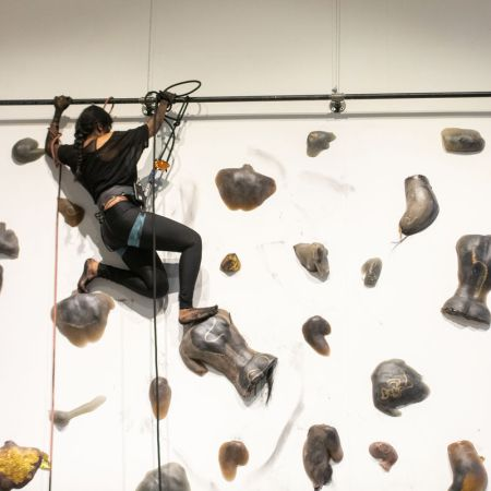 Performance documentation of Baseera Khan, Braidrage, Albany University, 2019. Photo by Ariana Sarwari. Courtesy of the artist and Simone Subal Gallery.