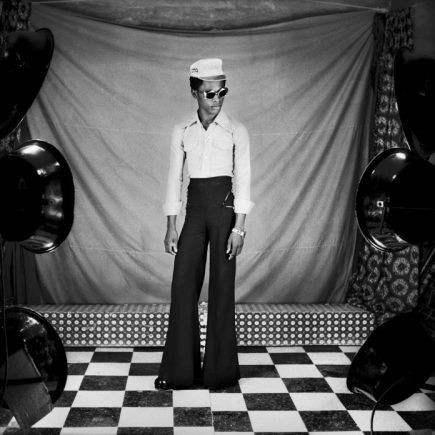 """Samuel Fosso, Self-portrait from the series 70s lifestyle 1975–7 © Samuel Fosso. Courtesy Jean Marc Patras, Paris. Exhibition: """"Masculinities. Liberation through Photography"""" at Baribican Centre, London, 2020, courtesy Barbican Centre"""