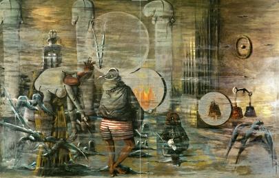 Sergio Vacchi, Della perdita o del ritrovamento, 1975, smalto e colori metallici su tavole di legno, cm 300 x 460, Collezione privata
