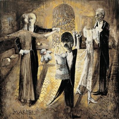 Sergio Vacchi, Marcel, 1987, smalto e colori metallici su tela, cm 200 x 200, Collezione privata