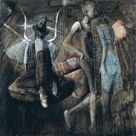 Sergio Vacchi, Minotauro, 1987, smalto e colori metallici su tela, cm 200 x 200, Collezione privata