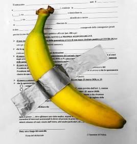 Autocertificazioni Illustrate - Banana su autocertificazione, tecnica mista @susanna.gianni