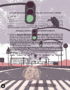 Autocertificazioni Illustrate - Onda verde, arte digitale, @titti_fruhwirth_illustration