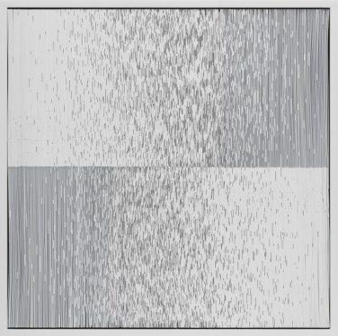 "Tara Donovan, Composition (Cards), 2017, Styrene cards and glue, 22-1/4"" × 22-1/4"" × 4"" (56.5 cm × 56.5 cm × 10.2 cm) © Tara Donovan"