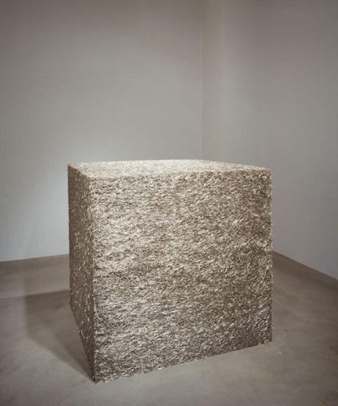 """Tara Donovan, Untitled (Pins), 2004, straight pins, 39"""" x 39"""" x 39"""" (99.1 cm x 99.1 cm x 99.1 cm) © Tara Donovan"""