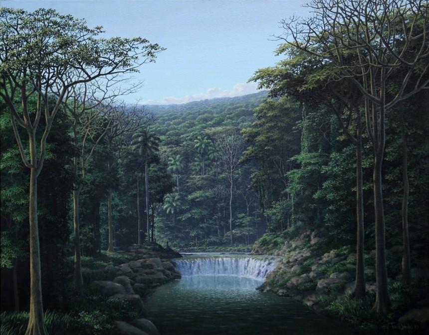 """""""Meditación y sonido de aguas"""" (1993, acrylic on canvas 60.5 x 76 centimeters) by Tomás Sánchez"""