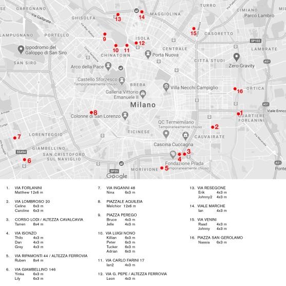 La mappa per trovare i cartelloni pubblicitari del progetto di Alessiono Bolzoni a Milano