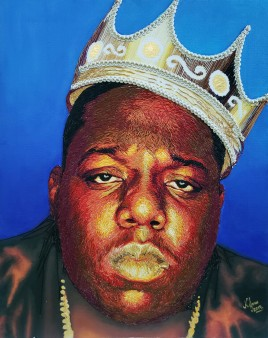 """Biggie Embroidered"" by Nneka Jones (2019), ricamo a mano su tela, 16 x 20 pollici"