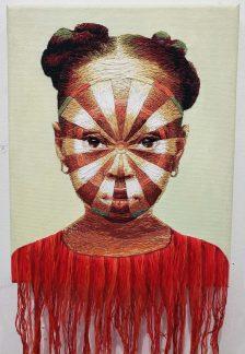 """Dartboard Target"" by Nneka Jones (2019), ricamo a mano su tela, 8 x 10 pollici"