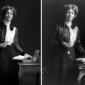 Helen Pankhurst, Pankhurst's great granddaughter. Emeline Pankhurst, women's rights activist. Photography by Drew Gardner