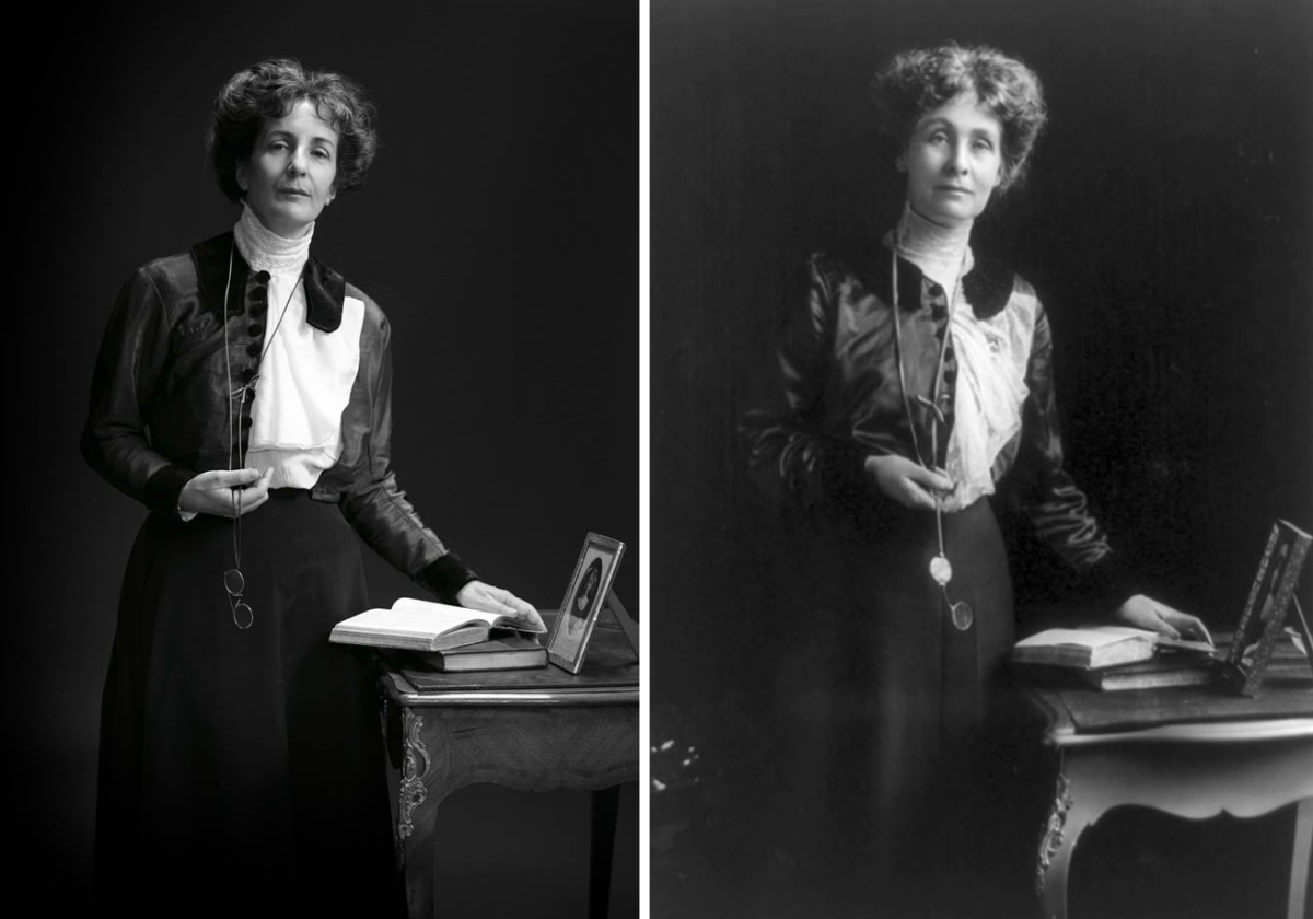 Helen Pankhurst, Pankhurst's great granddaughter. Emeline Pankhurst, women's rights activist. Photography by Drew Gardner