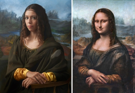 Irina Guicciardini Strozzi, the 15th great granddaughter of Lisa del Giocondo. The Mona Lisa by Leonardo DaVinci. Photography by Drew Gardner
