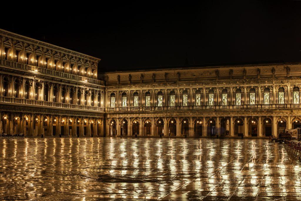 Fabrizio Plessi's installation lights up the Piazza San Marco. Photo courtesy Dior