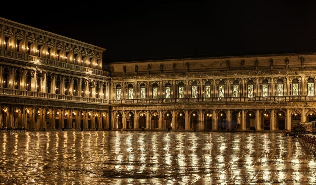Fabrizio Plessi's installation lights up the Piazza San Marco. Photo courtesy Dior