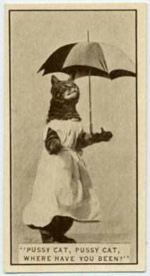 Un gatto posa per una carta di sigaretta Army Club Cigarettes. 1932