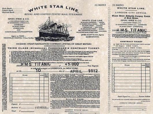 Una vera carta d'imbarco del Titanic