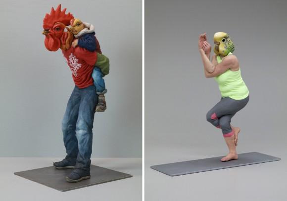 """Alessandro Gallo. A destra: """"Eagle Pose"""" (Yoga Parakeet) (2016), gres e tecnica mista, 12 x 6 x 13 pollici."""