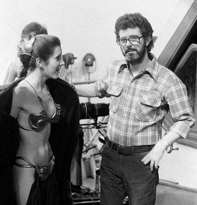 Carrie Fisher e George Lucas durante la produzione di Return of the Jedi