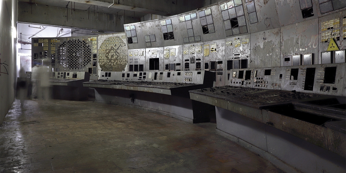 Control Room 4, the room where the 1986 disaster originated. Now stripped of many of its fittings and cleaned of dust, it has been declared safe for visitors. Since autumn 2019, the power plant authorities have included it on official tours. Chernobyl Exclusion Zone by Darmon Richter