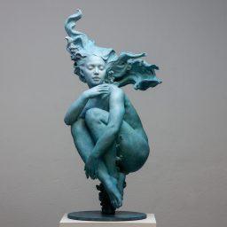 """""""Clio's Dream"""" (2020), bronze and blue patina. By Coderch & Malavia"""