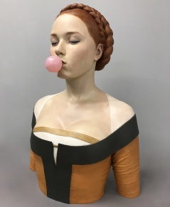 "Gerard Mas. ""Lady of the chewing gum,"" polychrome resin"