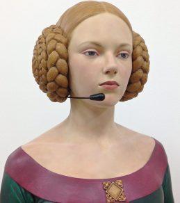 """Gerard Mas. """"Call center lady,"""" polychrome resin"""