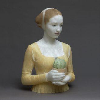"Gerard Mas. ""Lady of the cactus"" (2019), polychrome alabaster"