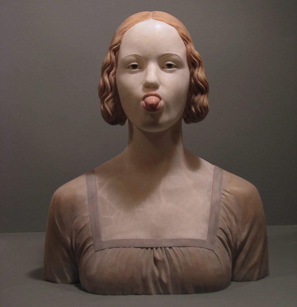 "Gerard Mas. ""Lady sticking out tongue"" (2007), polychrome alabaster"