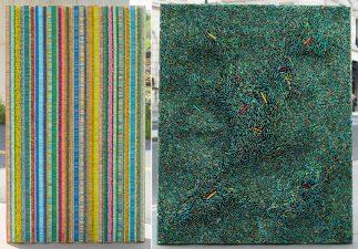 "Ilhwa Kim. A sinistra: ""Seed School 7"" (2020), 114 x 234 x 13 cm. A destra: ""Seed universe 83"" (2018), 184 x 132 x 15 cm"