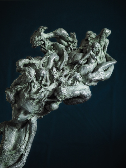 """Valérie Hadida. Detail of """"Nocturna"""" (2017), bronze, 25 1/5 × 17 7/10 × 7 9/10 inches"""