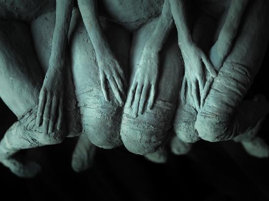 "Valérie Hadida. Detail of ""Trio de femmes"" (2018), bronze, 21 3/10 × 15 × 7 9/10 inches"