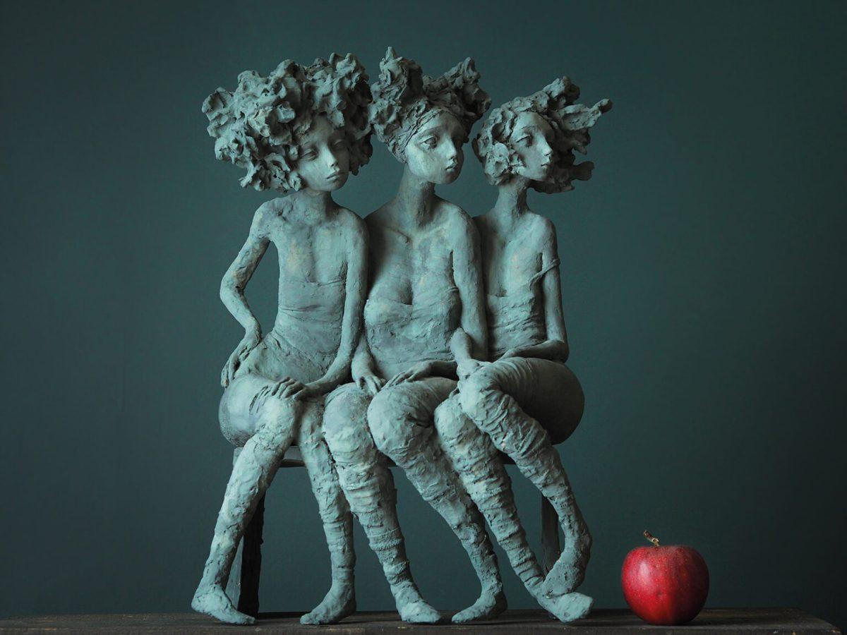 """Valérie Hadida. """"Trio de femmes"""" (2018), bronze, 21 3/10 × 15 × 7 9/10 inches"""