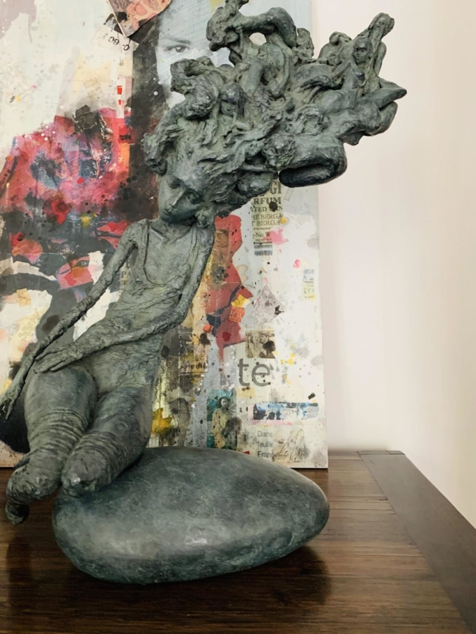 """Valérie Hadida. """"Nocturna"""" (2017), bronze, 25 1/5 × 17 7/10 × 7 9/10 inches"""
