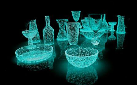 "Rui Sasaki. ""Weather Project"" (2015), glass, phosphorescent crystal mixture, sunshine, 1,050 x 1,300 x 750 millimeters (as installation)"