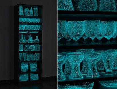 "Rui Sasaki. ""Remembering the weather"" (2020), glass, phosphorescent crystal mixture, lights, motion sensor, plywood, 1,800 x 590 x 300 millimeters. Photo by Kichiro Okamura"