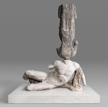 Xu Zhen - From Eternity series - Northern Qi painted Bodhisattva, River God Ilissos from West Pediment of Parthenon, 2018. Mineral based composite, mineral pigments, stainless steel, marble. Xu Zhen's 'Eternity' is a series of sculptural installations composed of replicas made from compound minerals. To create the amalgamations, the artist selects from classic statues of Western and Asian civilizations, like that of Buddha statues sourced from temples across China. The artist has taken a provocative but also humorous approach to highlight the differences in Western and Eastern cultures. The sculptures of the Greek Gods mark the beginning of Western civilization while the statues of Buddha represent enlightenment in it's highest form. The migration of these timeless art pieces recount the history of colonization, international politics and war. By combining the two aesthetically and culturally opposing elements, Zhen brings cultural conflict and the power struggle of human history to the foreground.