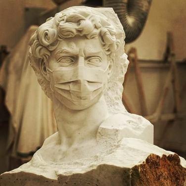 DAVID-19, marble sculpture by Francesco Filiberto Tonarelli