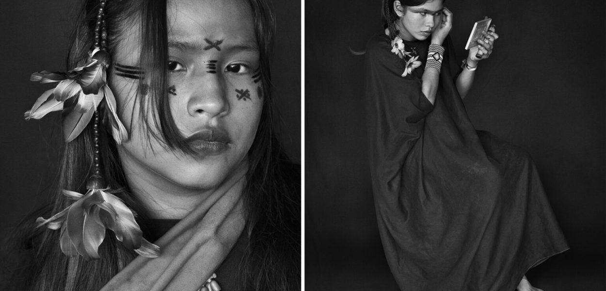 A sinistra: Yara Asháninka, la figlia maggiore di Wewito Piyãko e Auzelina Asháninka. I piccoli disegni di vernice sul suo viso indicano che una ragazza non è ancora fidanzata. Territorio indigeno di Kampa do Rio Amônea, stato di Acri, 2016. A destra: Luísa, figlia di Moisés Piyãko Asháninka, si dipinge allo specchio. Territorio indigeno di Kampa do Rio Amônea, stato di Acri, 2016. Fotografia di Sebastião Salgado