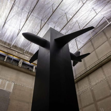 Maurizio Cattelan unveils 9/11 memorial for a new solo show at Pirelli HangarBicocca (Milan, Italy)