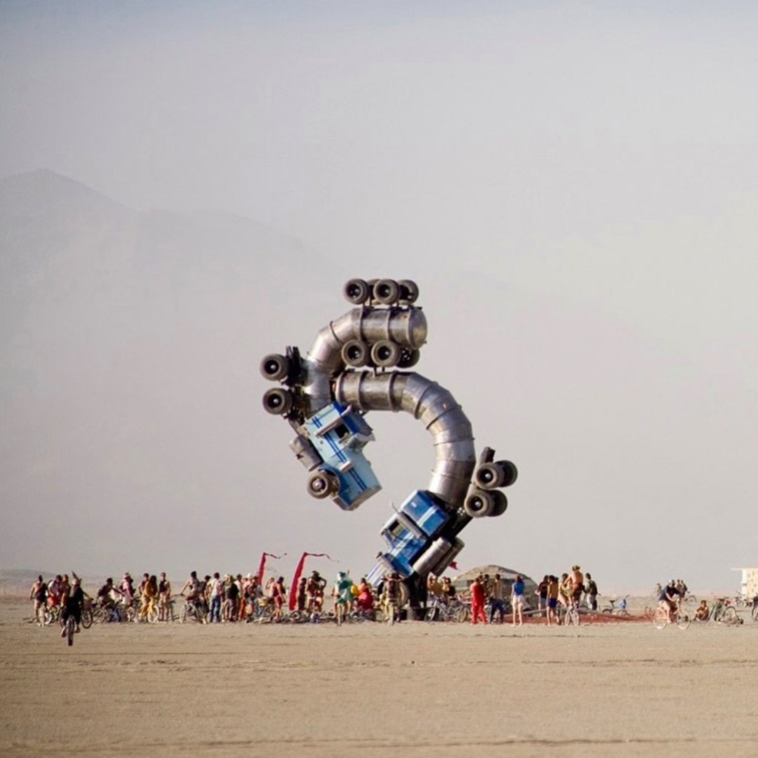 14 years ago, the Big Rig Jig at Burningman 2007. This piece was created by artist Mike Ross
